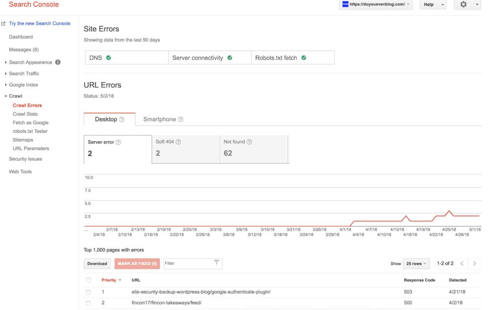search console crawl errors