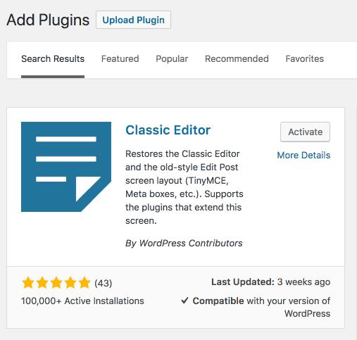 wordpress classic editor plugin