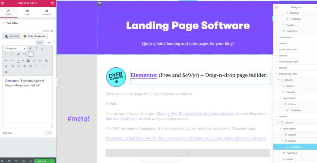 elementor blogging tool