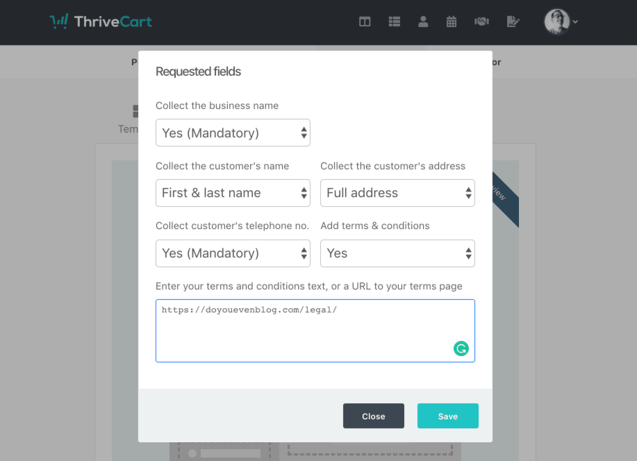 thrivecart terms and conditions checkbox